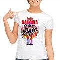 2017 Nuevas Camisetas de Diseño de Moda Casual T shirt Mujeres Camisetas camisetas de Manga Corta Camisetas de Algodón Gris Ramones Camiseta Impresa