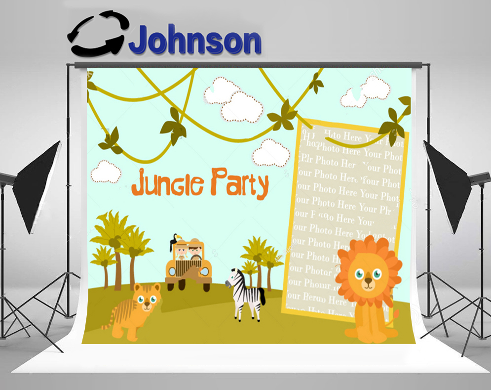 jungle safari party Frame Tree clouds Background Vinyl cloth High quality Computer print wall backdrop