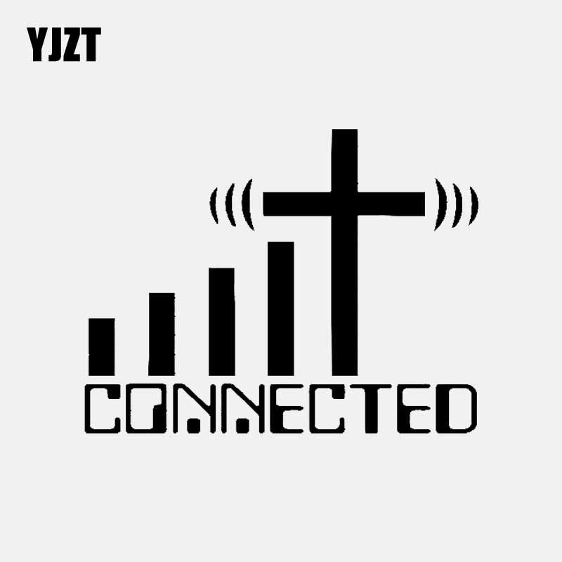 YJZT 15.2CM*11.7CM CONNECTED Cross WiFi Christian Car Sticker Vinyl Decal Black/Silver C3-1467