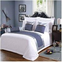 Klasyczny Japan style głęboki błękit nadruk w geometryczne wzory bieżnik retro bieżnik na łóżko ręcznik wysokiej jakości domowy hotel poszewka na pościel decor w Bieżniki od Dom i ogród na