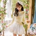 Princess sweet lolita yellow mohair sweater Candy rain Lovely decoration design Playful Sliml ongsleeve Japanese designC16CD6159