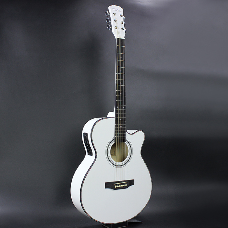Electro Acoustic Electric Steel-String Flattop Guitar Jumbo Auditorium 40 Inch Guitarra 6 String White Built-in Tuner Cutaway цена и фото