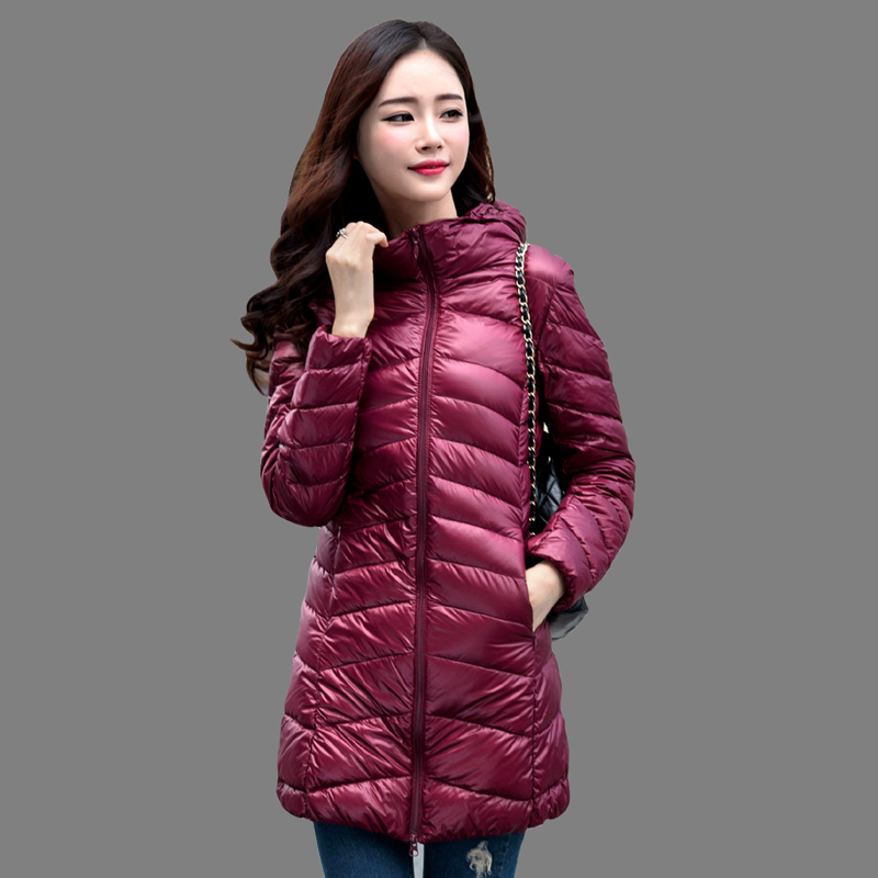 Women Winter Coat 2018 New 90% White Duck Down Jackets Slim Hooded Long Down Coat Portable Plus Size Ultra Light Down Parkas