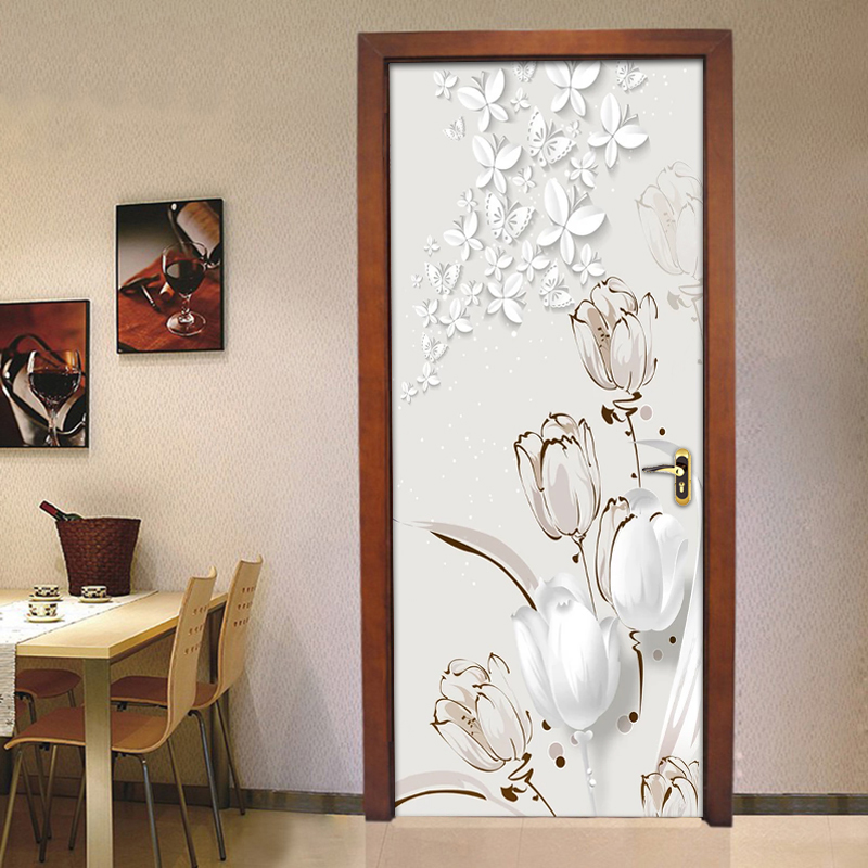 PVC Self-Adhesive Waterproof Door Sticker White Flowers Butterfly Wall Mural Wallpaper 3D Living Room Bedroom Home Decor Sticker