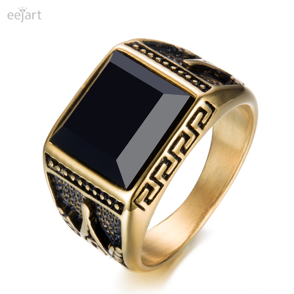 eejart 316L stainless steel Fashion ring freemason ring for men trandy gold plating Maso ...