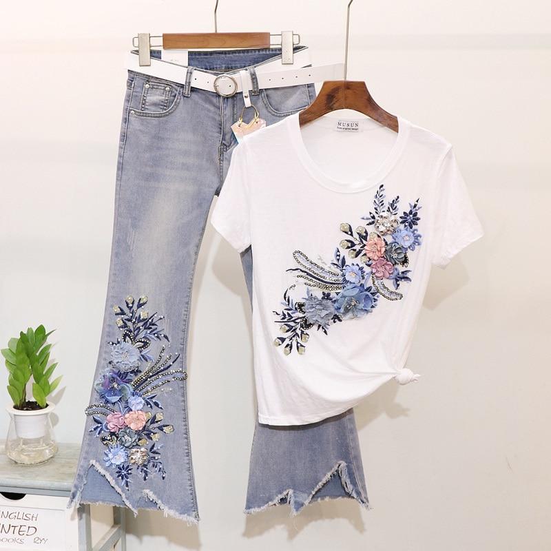 Taotree été Flare Jeans ensemble broderie fleur T-shirt + Jeans deux pièces dame déchiré Denim pantalon costume femmes