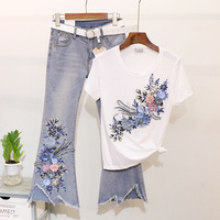 Taotrees Summer Flare Jeans Set Embroidery Flower T shirt + Jeans Two piece Lady Ripped Denim Pants Suit Women