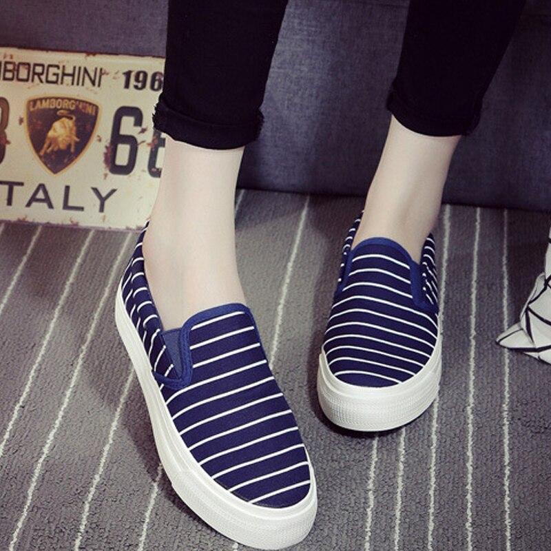 Enredadera Femeninos Mujer azul En 2016 Resbalón Slipony Zapatos Negro Pisos Respirable Señoras Plataforma blanco Mujeres Marca Raya Krosovki 8q67p