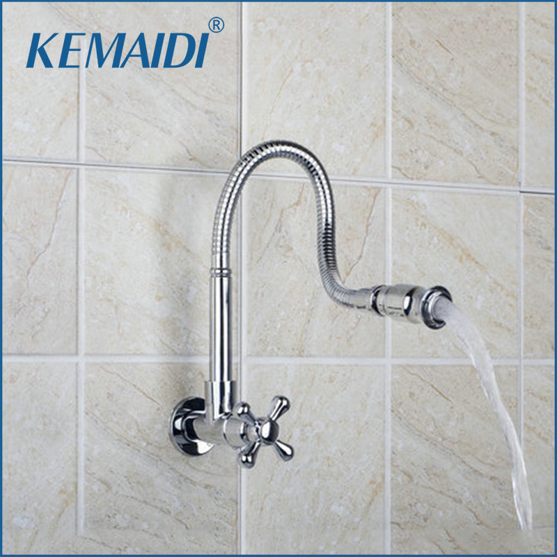 KEMAIDI Kitchen Wall Mount New Brand Hot Sale Shipping All Around Rotate Swivel Chrome Single Cold Faucet Tap RQ8551-3AKEMAIDI Kitchen Wall Mount New Brand Hot Sale Shipping All Around Rotate Swivel Chrome Single Cold Faucet Tap RQ8551-3A