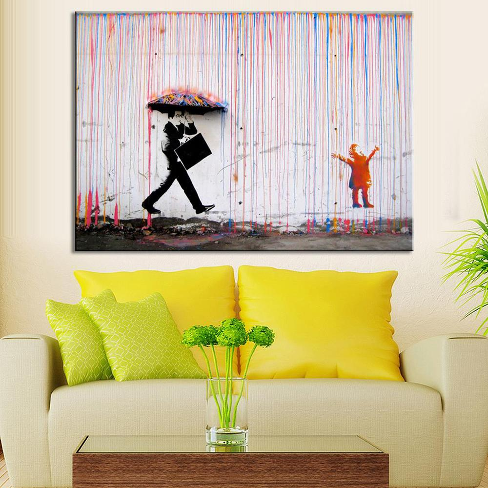 Banksy Art Colorful Man In The Rain Wall Canvas Living Room Decor Abstract Unframed Oil Painting Cheap Price Calligraphy From
