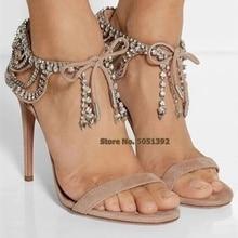 Glittering Diamond High Thin Heel Rhinestone Bow-Knot Nude Black Suede Lace-up Crystal Shinning Ankle Wrap Elegant Fringe Plus