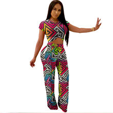 393e76b4705d women cutout waist short sleeve o-neck straight geometric print long pants  bodycon bandage jumpsuits