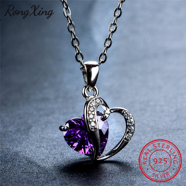 Rongxing 100 real 925 sterling silver heart cz pendants necklaces rongxing 100 real 925 sterling silver heart cz pendants necklaces for women wedding jewelry colorful aloadofball Image collections