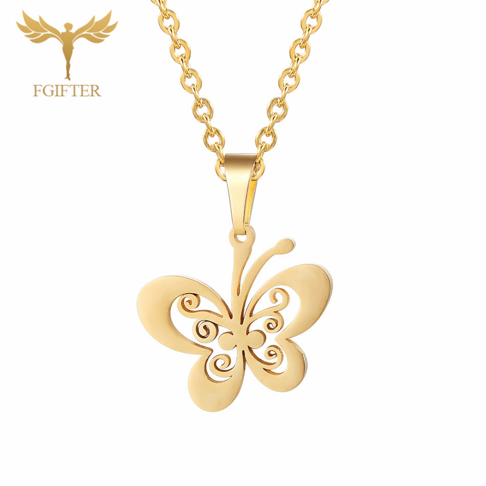 Fgifter Gold Butterfly Stud Earrings Necklace Jewelry Sets For Girls Children Stainless Steel Jewelry Kids Gifts Wholesale #6