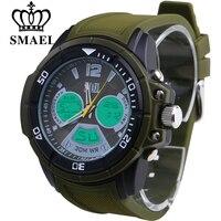 SMAEL Mens Watches Top Brand Luxury Men Military Sports Luminous Wristwatch Chronograph Leather Quartz Digital Watch
