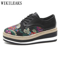 high quality embroidered flowers platform shoes women luxury brand flats zapatillas mujer casual ladies shoes sapato feminino
