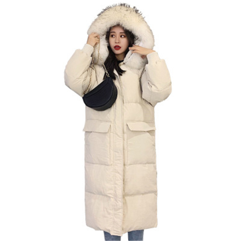 Long   down   jacket women 2019 winter jackets women raccoon fur collar   down     coat   female thicken warm hooded white duck   down     coats