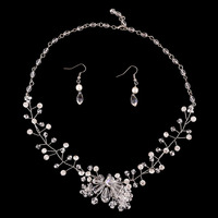 100 Handmade Crystal Necklace Earrings Bridal Wedding Accessories Jewelry Sets Pendientes Jewellery