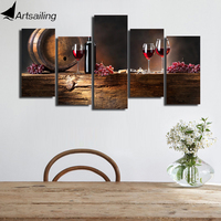 HD Printed 5 Piece Canvas Art Grape Red Wine Glasses Oak Barrels Painting On Canvas Wall