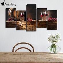 HD Отпечатано 5 шт. холсте виноградное красное вино очки Дуб баррелей картина на холсте уолл картинки для гостиной Бесплатная доставка