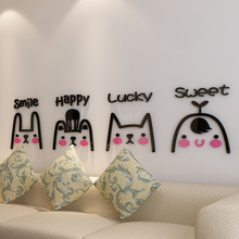 Rabbit Kitty Bear Design Cartoon Wall Sticker 3D Acrylic Stickers for Living Room Baby Nursery School Decor