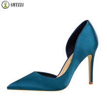 Luxury Shallow Pointed Toe Women Satin High Heels Shoes Pumps Office Work Wear Casual Female Pumps Scarpins Shoes For Ladies цена 2017