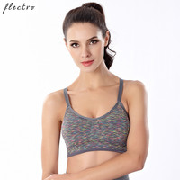 Shakeproof Sports Bra Women For Running Gym Padded Underwear Push Up Green Gray Seamless Fitness Bras L367