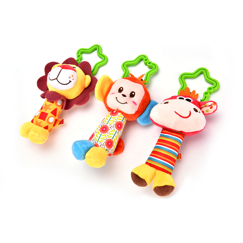 Happy Monkey Newborn Infant Baby Soft Toys Baby Rattle Tinkle Hand Bell For Tots Plush Mobiles In Baby Bed/Crib Stroller 1Pcs