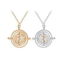 24 pçs/lote melhor venda 3.5 cm diâmetro tempo turner colar filme jóias rotação ampulheta pingente a granel atacado