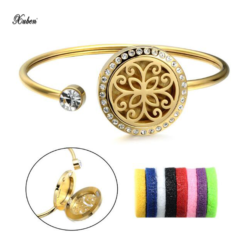 Titanium steel jewelry stainless steel classic flower aromatherapy essential oil fragrance ladies bracelet with fragrant tablets