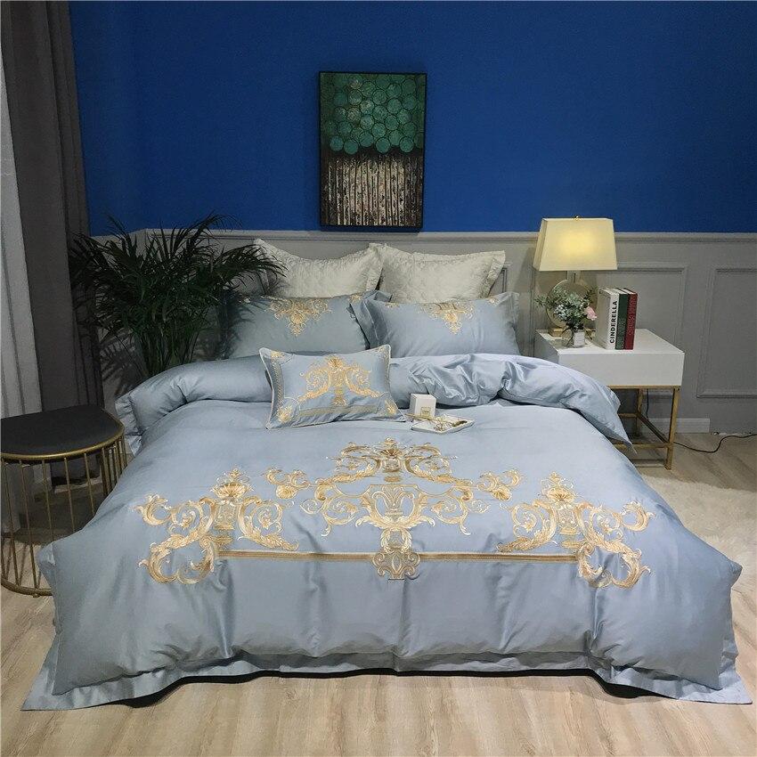 Роскошный комплект постельных принадлежностей из египетского хлопка, набор постельного белья с восточной вышивкой, пододеяльник, Королевс