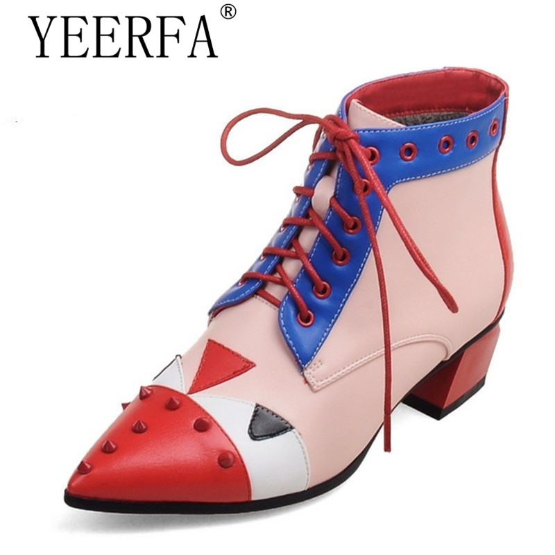 YIERFA 2017 autumn winter Women Boots Plus Size 35-43 Med Hoof Heels Lace-Up Pointed Toe Classic Pumps Fashion Woman Shoes Red