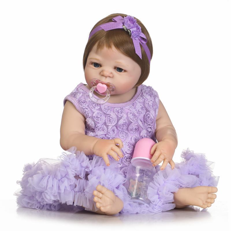 22 Full Body Soft Silicone Babies Girls Reborn Baby Doll Princess Girl Dolls Lifelike real born doll bebe Reborn Brinquedos цена