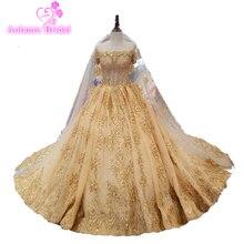 Gorgeous Champagne Wedding Dress Royal Hemline Gold Bridal Formal Gown Chic Middle East Saudi Arabia Custom Made Wedding Dresses