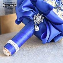 Kyunovia Stunning Bride Brooch Bouquet Royal Blue Leaf Bouquet Crystal Wedding flowers Bridal Bouquets Wedding Accessories FE88