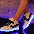 Высокие ПРИВЕЛО обувь женщины плоские с Световой Light Up теннис led неоновые Обувь женский досуг Повседневная zapatos mujer Мужская Горячие Моды
