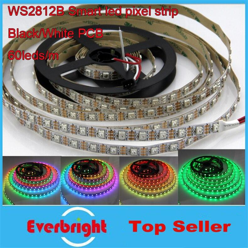 5 M blanc noir PCB 60 Pixel/M WS2812B WS2812 2812 IC 5050 RGB LED Pixels lumière de bande 300 LED s DC 5 V + 10 clés contrôleur RF