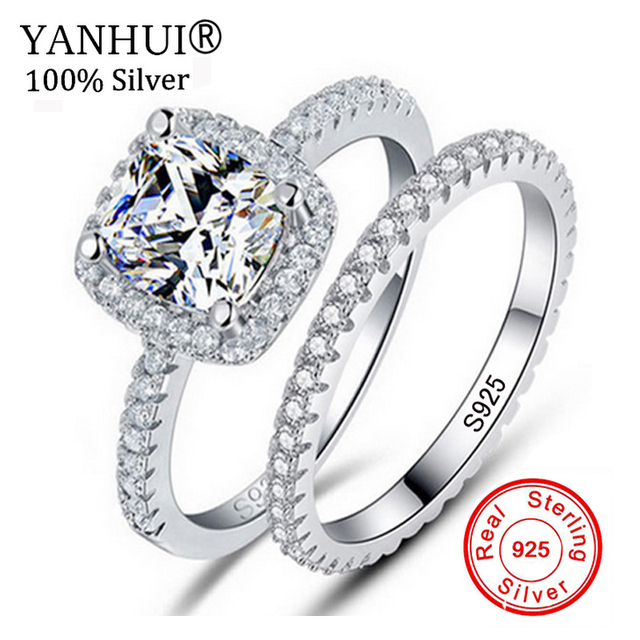 yanhui 100 original pure 925 silver wedding ring set natural 5a cubic zirconia jewelry band - Cubic Zirconia Wedding Ring Sets