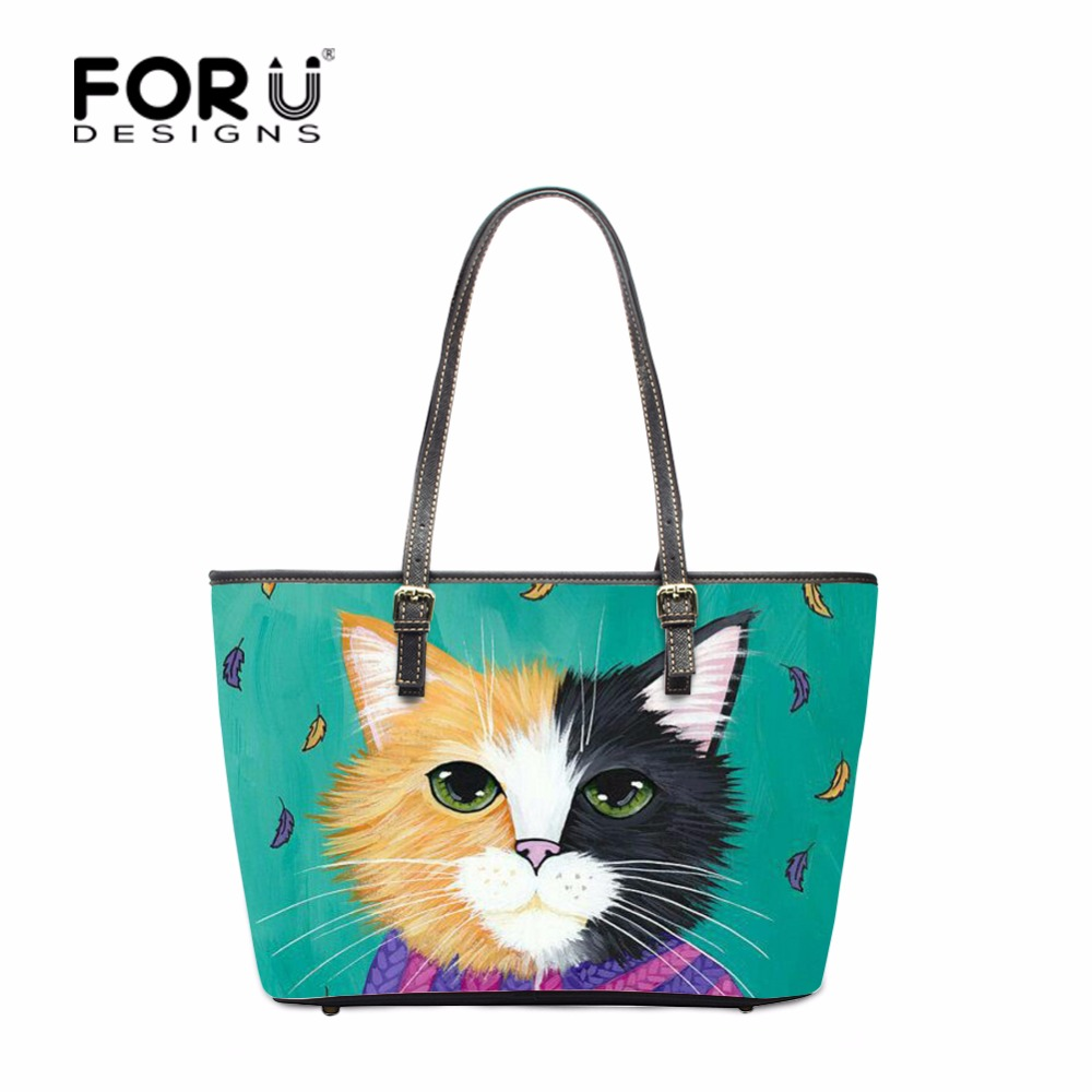 FORUDESIGNS Cartoon Cat Designer Ladies Shoulder Crossbody Bags Handbag Women PU Casual Tote Handbag bolsa feminina Carry on Bag feral cat ladies hand bags pvc crossbody bags for women single trapeze shoulder bag dames tassen handbag bolso mujer handtassen
