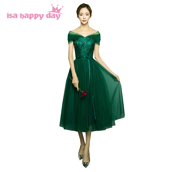 2017 New Arrival Fashion Strapless Women Green Tea Length Prom