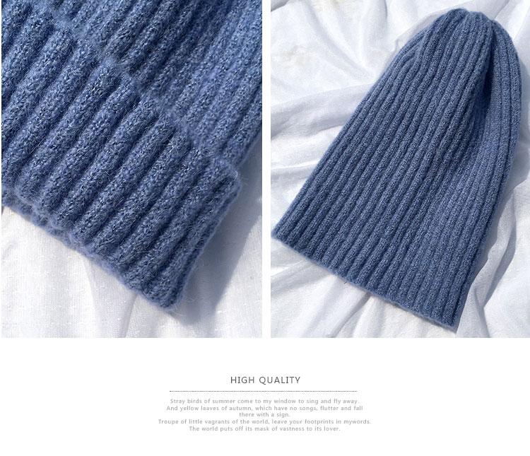 beanie women winter hats for women thick wool skullies beanies for ladies winter beanie hat solid pink black women hats winter hat  (10)