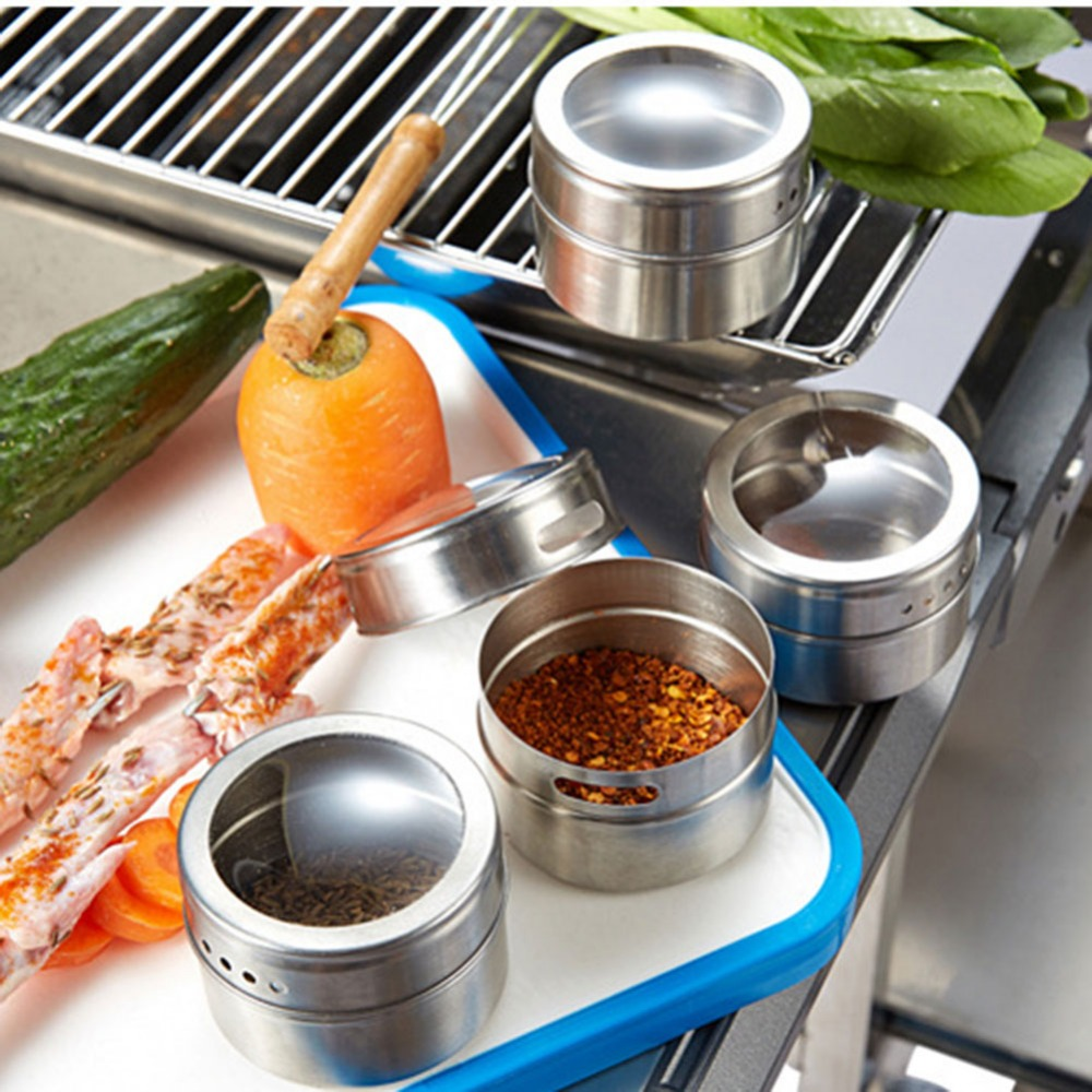 6pcs/set Magnetic Spice Tin Jar Clear Lid Stainless Steel Spice Sauce Storage Container Kitchen Condiment bbq Accessories