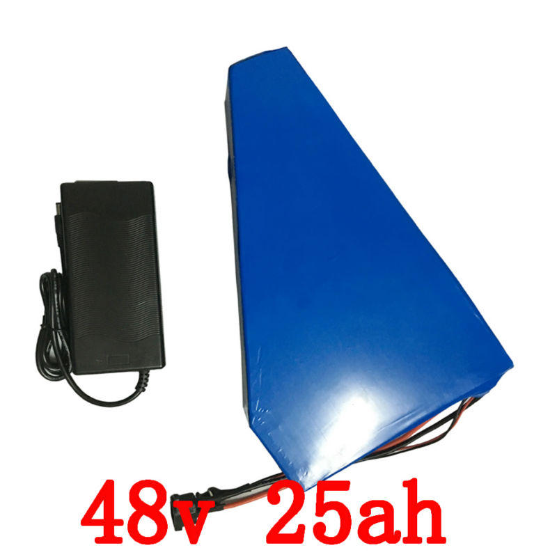 US EU no tax 1000W Electric Bike Battery 48V 25AH triangle Lithium ion battery with Free bag PVC Case 30A BMS 54.6V 2A charger eu us free customs duty 48v 550w e bike battery 48v 15ah lithium ion battery pack with 2a charger electric bicycle battery 48v