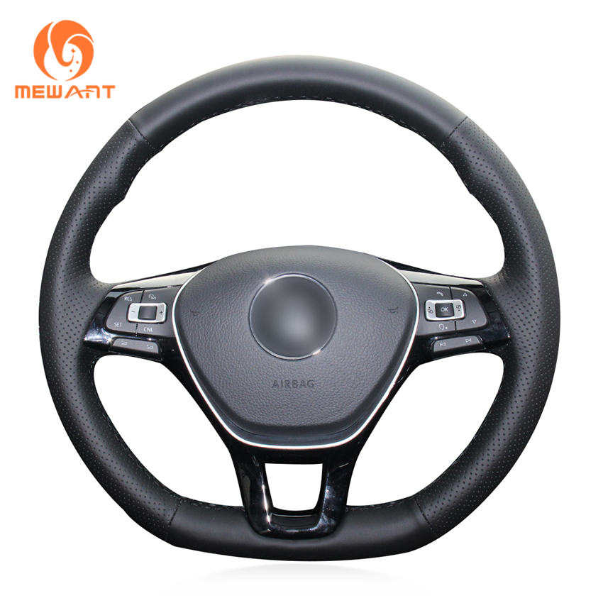 MEWANT Black Artificial Leather Steering Wheel Cover for Volkswagen VW Golf 7 Mk7 New Polo Jetta Passat B8 Tiguan Sharan Touran new 2 buttons silicone car key cover for vw volkswagen passat polo golf touran bora jetta cady touran sharan transporter