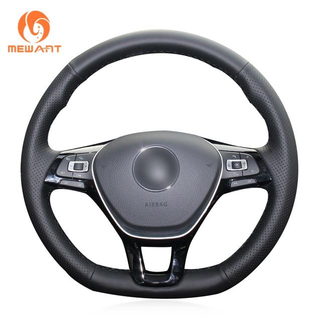 MEWANT Black Artificial Leather Steering Wheel Cover for Volkswagen VW Golf 7 Mk7 New Polo Jetta Passat B8 Tiguan Sharan Touran