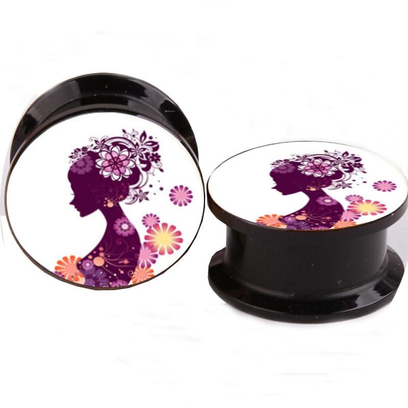 Pretty Girls Ear Plugs Acrylic Ear Tunnels Gauges Plugs -7016