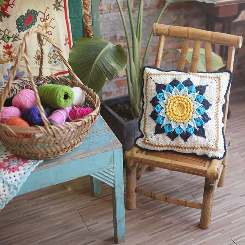 Outdoor Patio Wicker Furniture Cushions Outside Replacement Chair Cushions Country Crochet Blue White Flower Cushion Home Decor