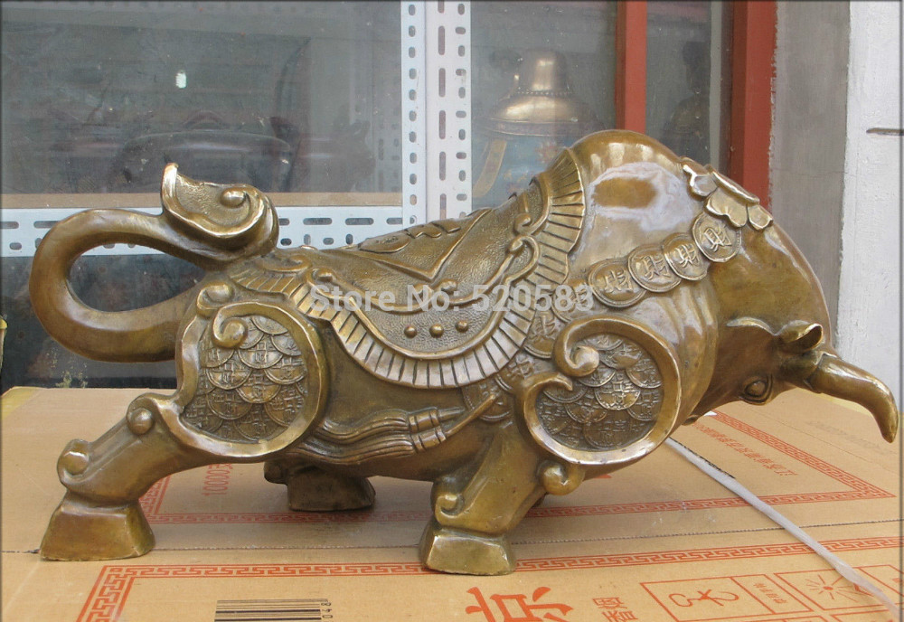 free 20Chinese Pure Bronze hand-carved good luck wealth Bi Coin Bull OX sculpture fastfree 20Chinese Pure Bronze hand-carved good luck wealth Bi Coin Bull OX sculpture fast