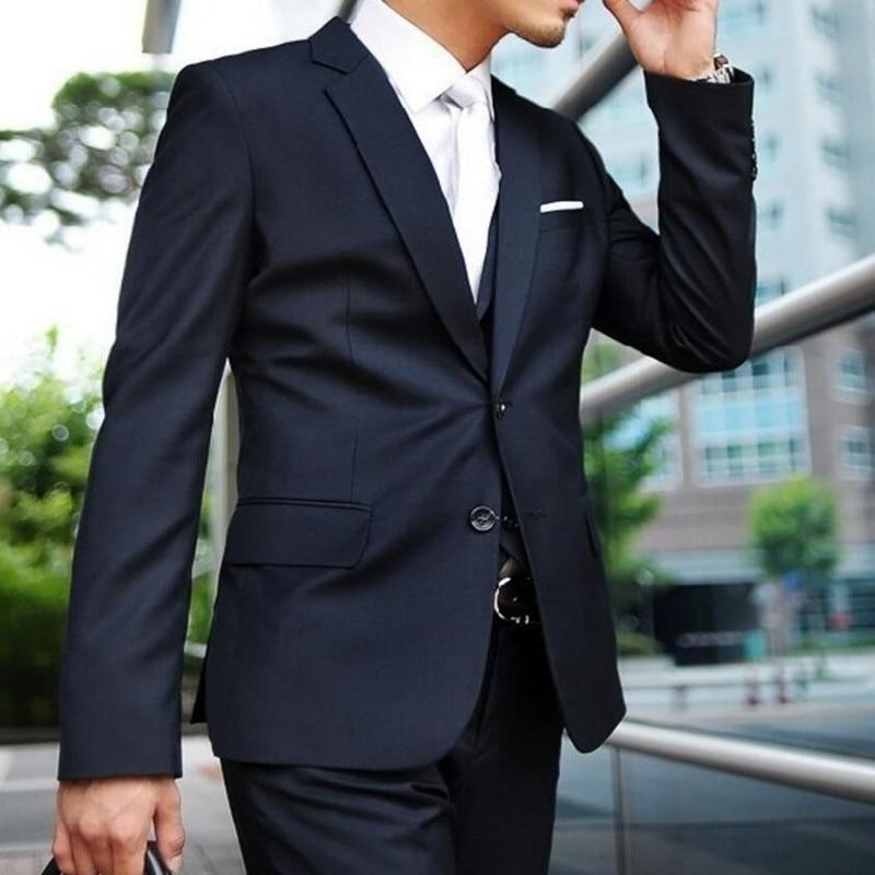 Custom Made Dark Blue Men Suit Tailor Made Suit Bespoke Navy Blue Wedding Suits For Men Slim Fit Groom Tuxedos For Men