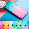 Híbrido de lujo del envío de cristal templado 360 grados de cuerpo completo teléfono case para iphone 5 5s se 6 6 s 7 plus 6 splus gradiente cáscara del teléfono